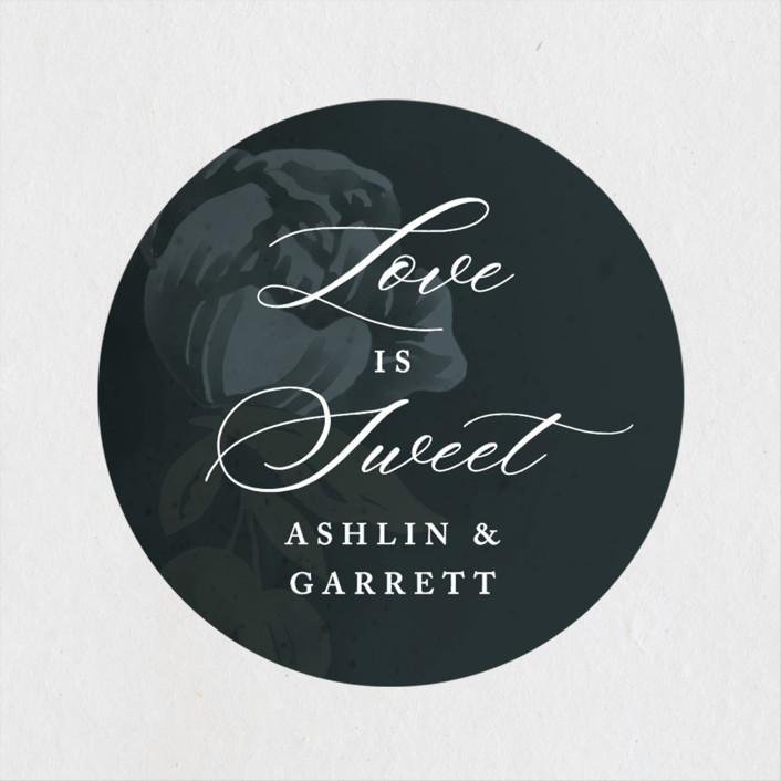 """""""Peaceful Garden"""" - Wedding Favor Stickers in Deep Sea by Jill Means."""