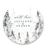This is a grey wedding favor label by Petra Kern called Grand Escape with standard printing on uncoated sticker paper in sticker.
