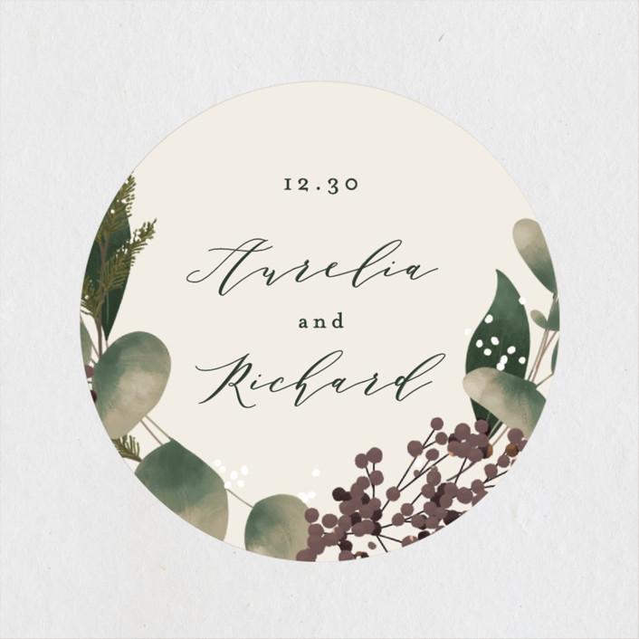 """""""Evergreen"""" - Wedding Favor Stickers in Shamrock by Leah Bisch."""