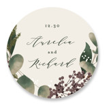 This is a green wedding favor label by Leah Bisch called Evergreen with standard printing on uncoated sticker paper in sticker.