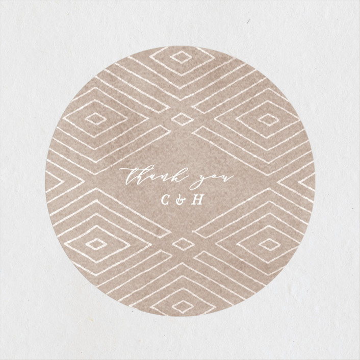 """""""Geometrica"""" - Bohemian Wedding Favor Stickers in Sand by Owl and Toad."""
