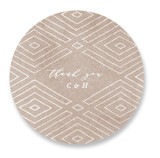 This is a brown wedding favor label by Owl and Toad called Geometrica with standard printing on uncoated sticker paper in sticker.