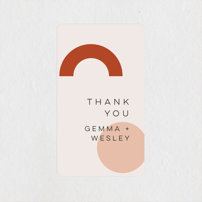 """Bauhaus Shapes"" - Modern Wedding Favor Stickers in Terracotta by Morgan Kendall."
