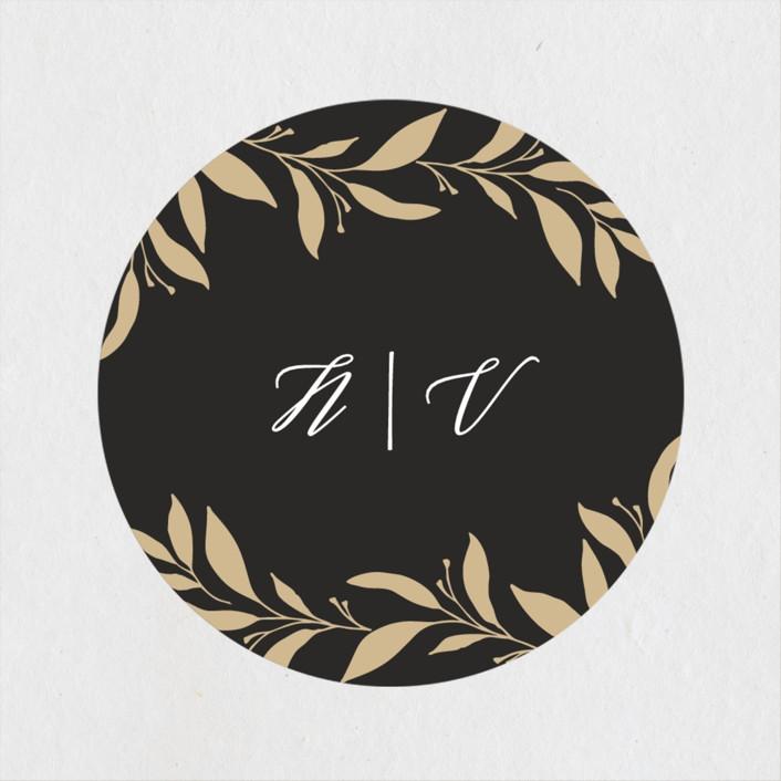 """""""Mod Wreath"""" - Wedding Favor Stickers in Eclipse by Stellax Creative."""