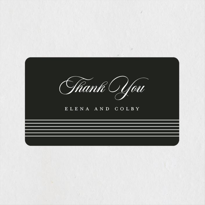 """Classic Stripes"" - Wedding Favor Stickers in Tuxedo by Christie Garcia."