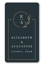 This is a black wedding favor label by Ana de Sousa called For Eternity with standard printing on uncoated sticker paper in sticker.