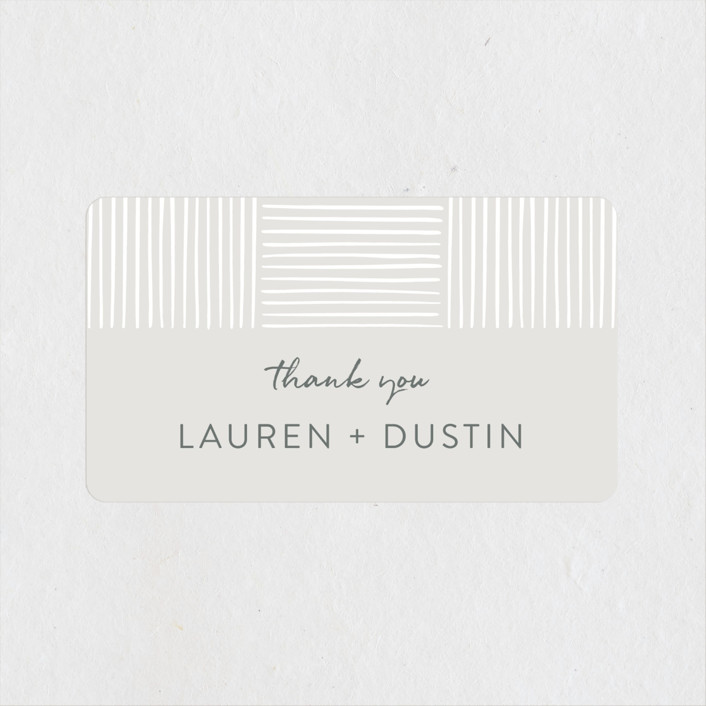 """Bamboo"" - Modern Wedding Favor Stickers in Quartz by Tennie and Co.."