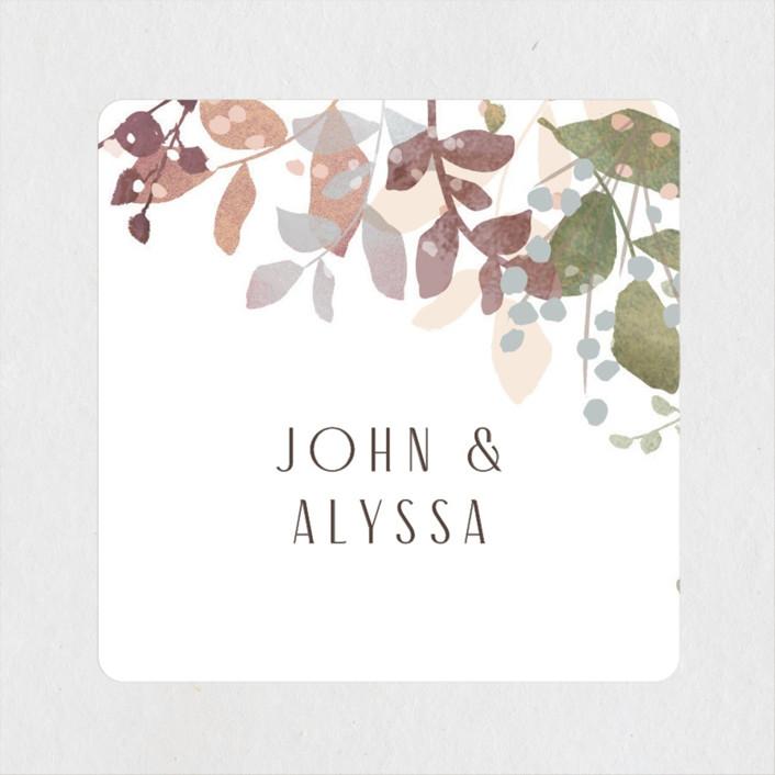 """""""Wesleyan Hill"""" - Wedding Favor Stickers in Wildflower by Jennifer Wick."""