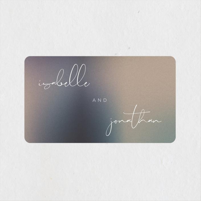 """Mystique"" - Wedding Favor Stickers in Ocean by Lisa McLean."