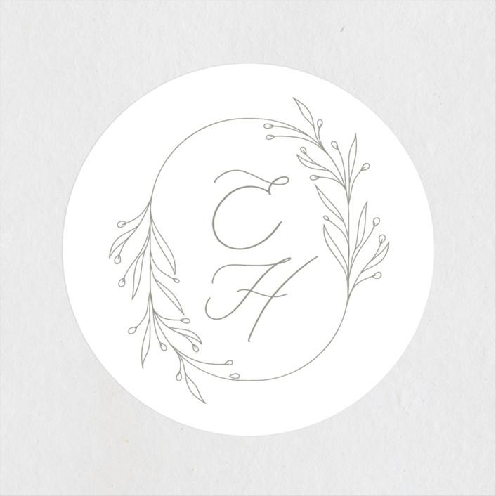 """Essential"" - Wedding Favor Stickers in Mist by Design Lotus."