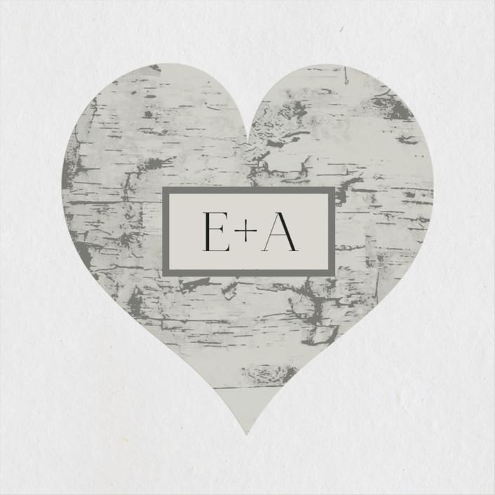 """""""Gilded birch bark"""" - Rustic Wedding Favor Stickers in Clay by Heather Schertzer."""