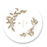 This is a white wedding favor label by Leah Bisch called Reflection with standard printing on uncoated sticker paper in sticker.
