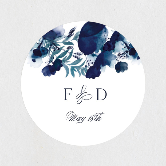 """Splendid Ink"" - Wedding Favor Stickers in Indigo by Olivia Raufman."