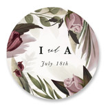 This is a purple wedding favor label by Susan Moyal called Roses & Greenery with standard printing on uncoated sticker paper in sticker.