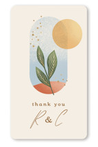This is a beige wedding favor label by Laura Bolter called Essence with standard printing on uncoated sticker paper in sticker.