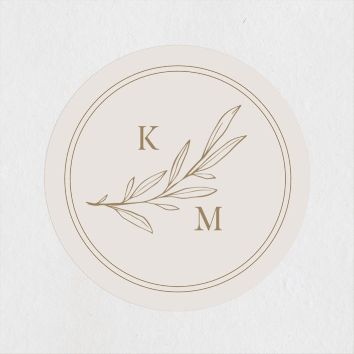 """""""Emblem"""" - Wedding Favor Stickers in Champagne by Everett Paper Goods."""