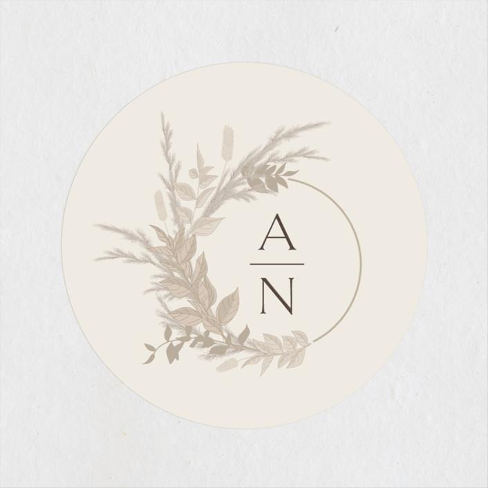 """Preserved Fall Botanicals"" - Bohemian Wedding Favor Stickers in Linen by Erin Deegan."