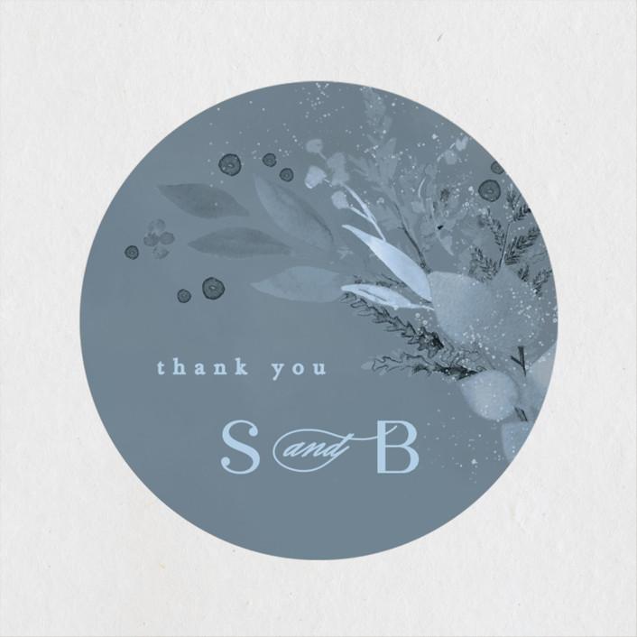 """Wonderful Tonight"" - Wedding Favor Stickers in Neptune by Creo Study."