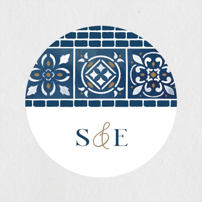 """Mediterranean Tiles"" - Wedding Favor Stickers in Ocean by GeekInk Design."