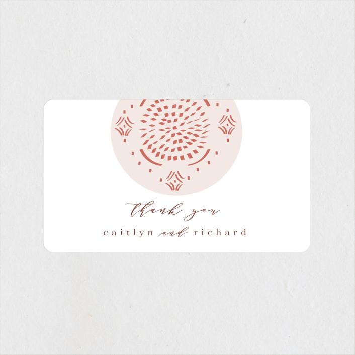 """Terracotta"" - Bohemian Wedding Favor Stickers in Rust by Kanika Mathur."