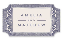 This is a purple wedding favor label by Katharine Watson called Block Print Frame with standard printing on uncoated sticker paper in sticker.
