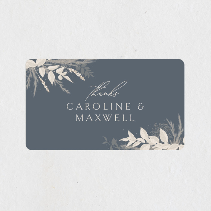 """Winter White Botanicals"" - Bohemian Wedding Favor Stickers in Slate by Erin Deegan."