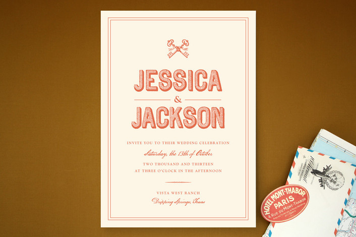 """Rustic Keys"" - Bold typographic, Whimsical & Funny Print-it-yourself Wedding Invitations in Peach by Olivia Raufman."