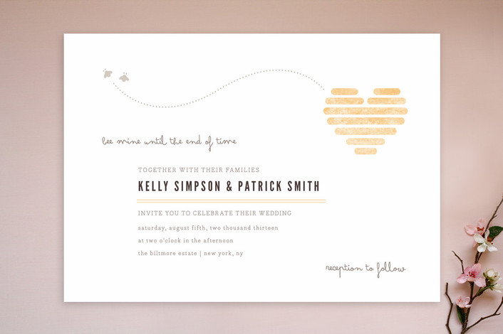 """Honeycomb Heart"" - Rustic, Whimsical & Funny Print-it-yourself Wedding Invitations in Gold by Kristen Smith."