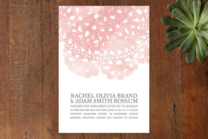 """Watercolor and Doilies"" - Vintage Print-it-yourself Wedding Invitations in Rose by Bethany Anderson."