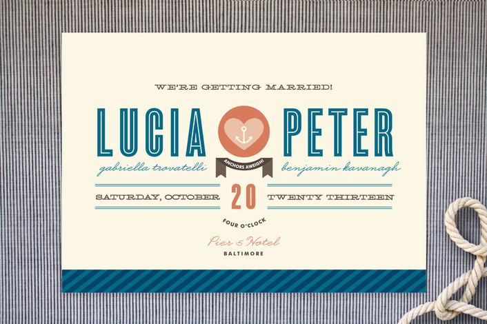 """Maritime Stripe"" - Bold typographic Print-it-yourself Wedding Invitations in Royal by Olivia Raufman."