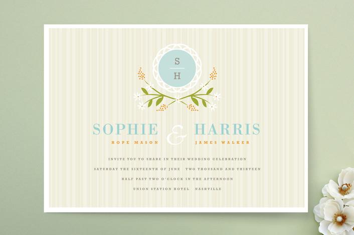 """Sweet Stripe"" - Rustic, Floral & Botanical Print-it-yourself Wedding Invitations in Sea by Kristie Kern."