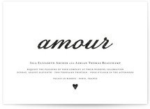 This is a black and white diy wedding invitation by Kylie Holmes called Amour with standard printing on digital paper in digital.