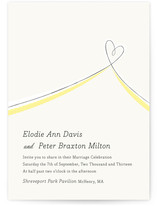 This is a yellow diy wedding invitation by Laura Hankins called Heart Aflutter with standard printing on digital paper in digital.