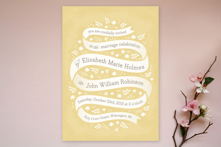 """Ribbon + Field"" - Vintage, Whimsical & Funny Print-it-yourself Wedding Invitations in Golden by Laura Hankins."