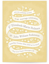 This is a yellow diy wedding invitation by Laura Hankins called Ribbon + Field with standard printing on digital paper in digital.