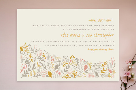 """The Grainfield"" - Rustic, Floral & Botanical Print-it-yourself Wedding Invitations in Tangerine by Moglea."