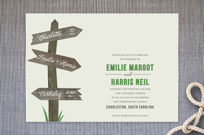 """""""Wedding This Way"""" - Rustic Print-it-yourself Wedding Invitations in Clover by Carrie Eckert."""