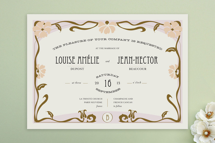 """Champagne & French Cancan"" - Destination, Vintage Print-it-yourself Wedding Invitations in Hazelnut by Bonjour Paper."