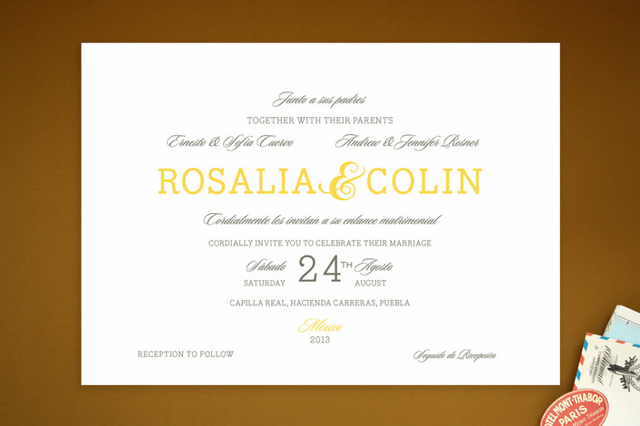 """Traditional Tequila"" - Bold typographic, Simple Print-it-yourself Wedding Invitations in Lemon by Lulu Garcia."