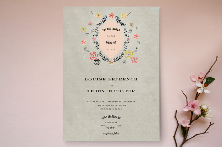 """Vintage Romance"" - Vintage, Floral & Botanical Print-it-yourself Wedding Invitations in Mustard by Bonjour Paper."