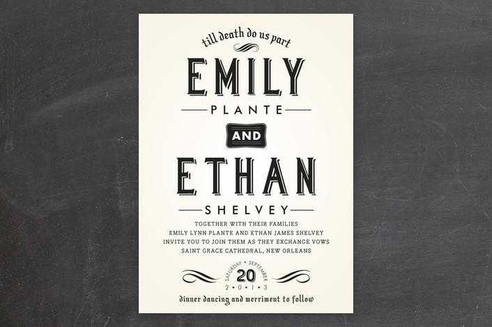 """Delightfully Dark"" - Vintage, Bold typographic Print-it-yourself Wedding Invitations in Moonlight by Samantha Venator."