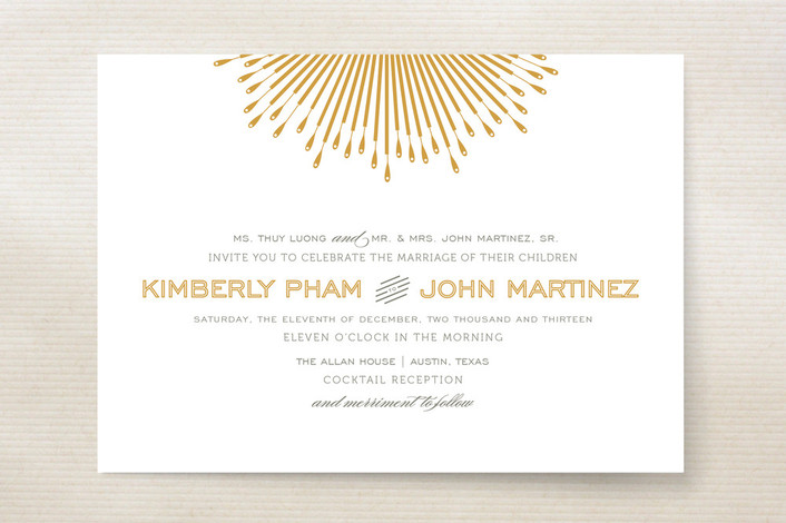 """Glam Burst"" - Classical Print-it-yourself Wedding Invitations in Gold by Cheer Up Press."