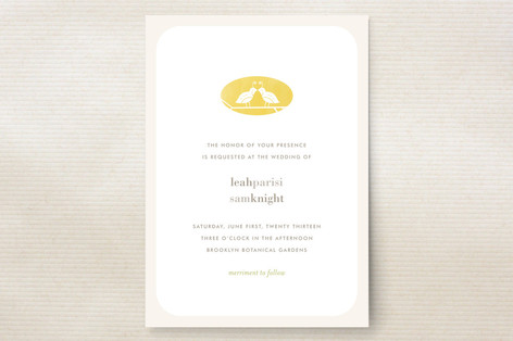 """""""Kissing Quails"""" - Simple, Modern Print-it-yourself Wedding Invitations in Quince by nocciola design."""