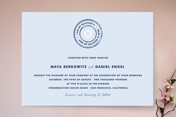 """""""Beloved"""" - Classical, Simple Print-it-yourself Wedding Invitations in Baby Blue by Paper Dahlia."""