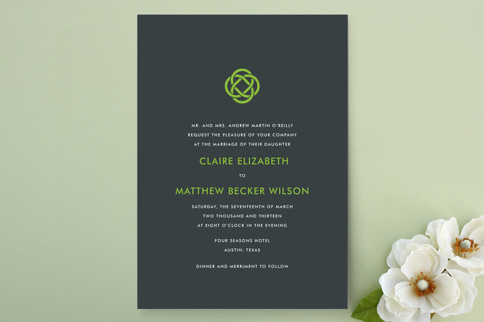 """Celtic Eternity"" - Modern Print-it-yourself Wedding Invitations in Kelly by Fig and Cotton."