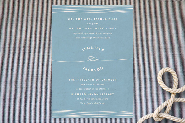 """""""Simple Knot"""" - Beach, Simple Print-it-yourself Wedding Invitations in Sea by Heritage and Joy."""