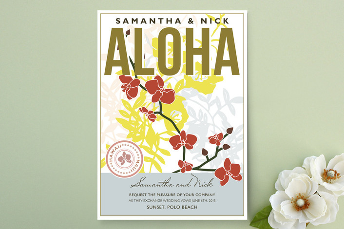 """Aloha Nui Loa"" - Destination, Beach Print-it-yourself Wedding Invitations in Vine by Rachel Wiles/Benign Objects."