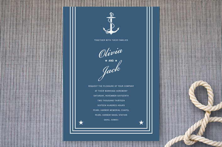 """Navy Stars and Stripes"" - Beach, Preppy Print-it-yourself Wedding Invitations in Navy by Sarah Curry."
