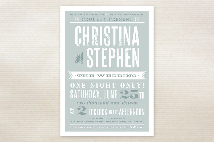 """Woodtype Poster"" - Vintage, Bold typographic Print-it-yourself Wedding Invitations in Seafoam by Paper Dahlia."