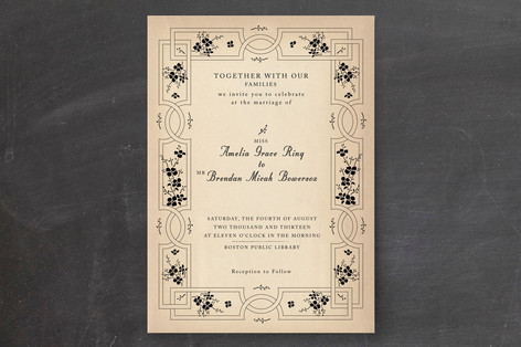 """Bookworm Society"" - Vintage Print-it-yourself Wedding Invitations in Parchment by Design Lotus."
